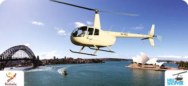 Полёт на вертолете над центром Сиднея и сиднейской бухтой